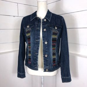 Jackets & Blazers - Jean Jacket with Mexican Embroidered Patches